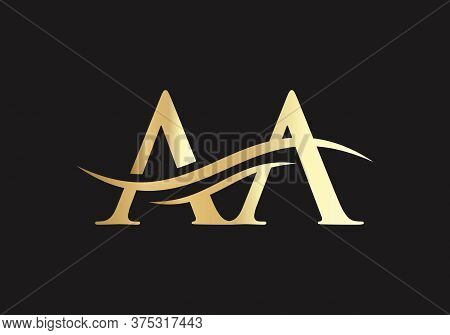 Initial Aa Letter Logo With Creative Modern Business Typography Vector Template.