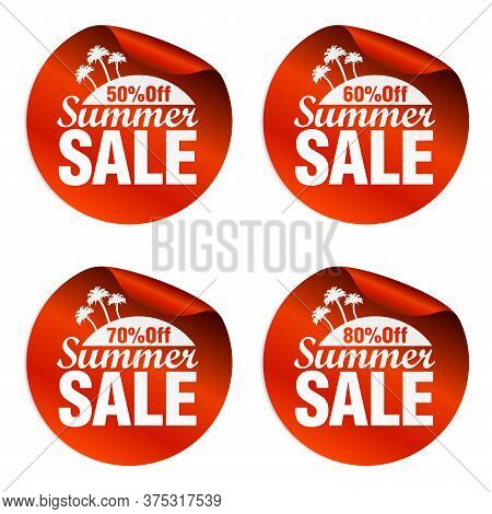 Red Summer Sale Stickers 50%, 60%, 70%, 80% Off With Island And Palm Trees. Vector Illustration