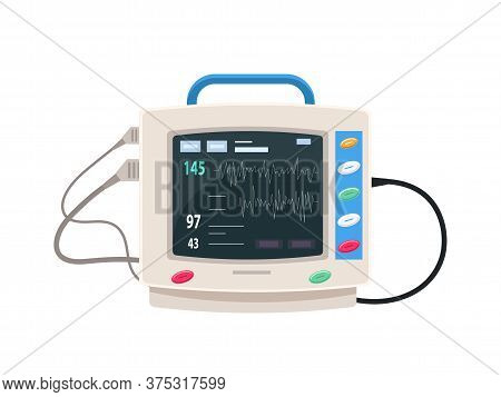 Working Monitor For Medical Equipment Flat Design. Life-supporting Appliance. Digital Device For Vit