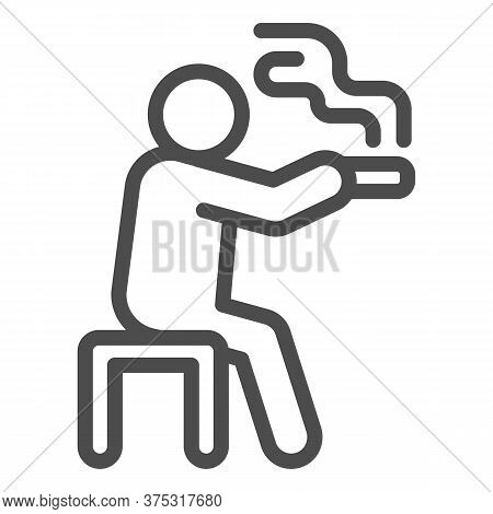 Man Sits On Bench And Smokes Line Icon, Smoking Concept, Smoking Area Sign On White Background, Sitt