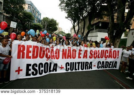 Salvador, Bahia / Brazil - July 13, 2015: People Are Seen During Walk Against Criminal Age Reduction