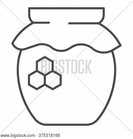 Can Of Honey Thin Line Icon, Beekeeping Concept, Natural Honey In Pot Sign On White Background, Jar