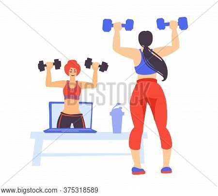Fitness Online Workout. Home Exercise. How To Keep Fit Indoors.