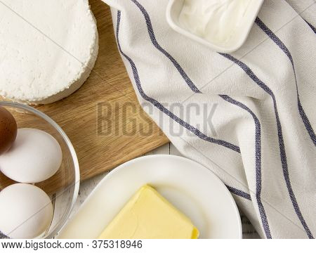 A Variety Of Farm Products. Assorted Dairy And Dairy Products