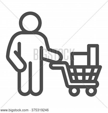 Buyer With Trolley Of Goods Line Icon, Market Concept, Man Holding Shopping Cart With Purchases Sign