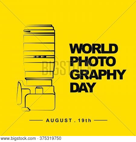 World Photography Day With Camera Outline Art Vector Illustration. Good Template For Photography Des