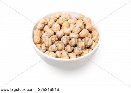 Bowl With Chickpeas Isolated On White Background