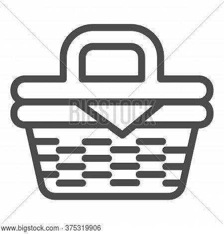 Picnic Basket Line Icon, Summer Time Concept, Wicker Picnic Basket Sign On White Background, Basket