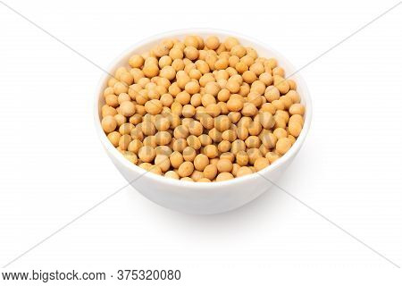 Bowl With Soybeans Isolated On White Background
