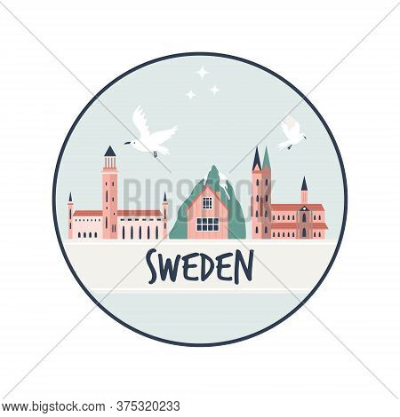 Circle Abstract Design With Landmarks Of Sweden. Explore Sweden Concept Image.