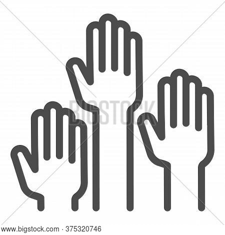 Hands Raised Up Line Icon, Education Concept, Raising Up Hands In Air Sign On White Background, Rais