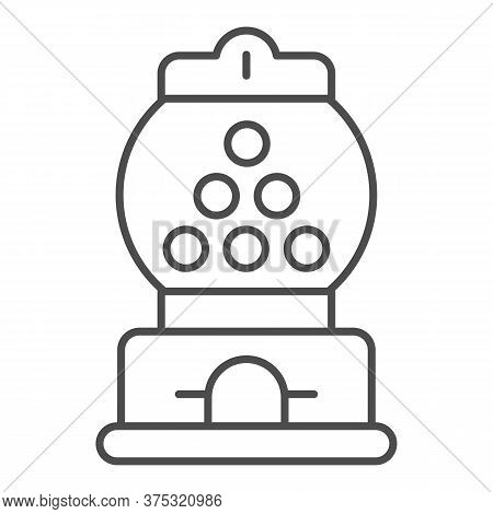 Candy Machine Thin Line Icon, Amusement Park Concept, Gumball Machine Sign On White Background, Chew