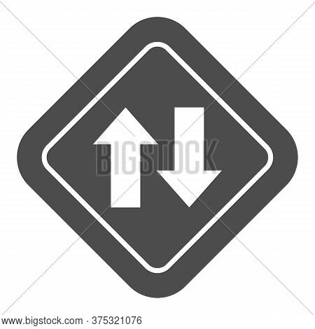Two Way Traffic Solid Icon, Navigation Concept, Traffic Sign On White Background, Two Way Road Icon