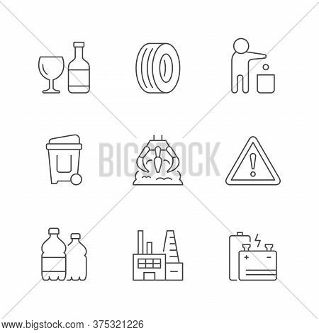 Set Line Icons Of Trash Isolated On White. Glass And Plastic Bottle, Car Tire, Person Throwing Garba