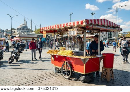 Istanbul, Turkey - October 9, 2019: Traditional chestnut and corn vendor cart in Istanbul