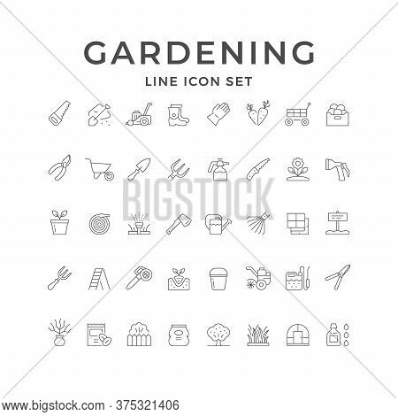 Set Line Icons Of Gardening Isolated On White. Seedling, Greenhouse, Lawn Mower, Grass, Wheelbarrow,
