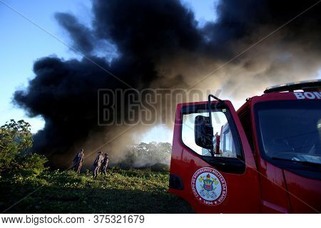 Salvador, Bahia / Brazil - December 28, 2017: Fire Department Members Fight Fire In Native Forest In