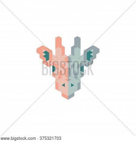Giraffe On White Background. Geometric Giraffe. Trendy Giraffe. Giraffe Head.