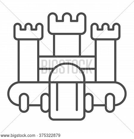 Bouncy Castle Thin Line Icon, Children Entertainment Concept, Jumping House Castle Sign On White Bac