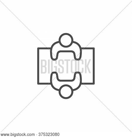Negotiation Line Outline Icon And Meeting Concept Isolated On White. People Talk At Table. Communica