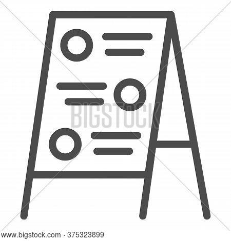 Menu Board Line Icon, Street Food Concept, Sidewalk Restaurant Advert Sign On White Background, Menu