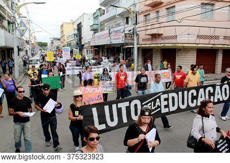 Itabuna, Bahia / Brazil - July 4, 2012: Protest By Teachers Of The Itabuna Municipal Network During