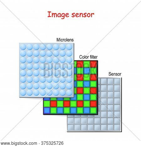 Image Sensor Or Camera Matrix. Each Photodiode Converts A Tiny Portion Of The Overall Amount Of Ligh