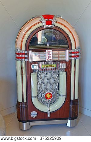 Cannes, France - July 11, 2013: Jukebox Replica Automated Cd Music Player At Corner In Cannes, Franc