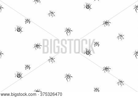 Hand Drawn Monochrome Beetles Seamless Pattern. Sketch Style Endless Vector. Black Isolated Bugs Ins
