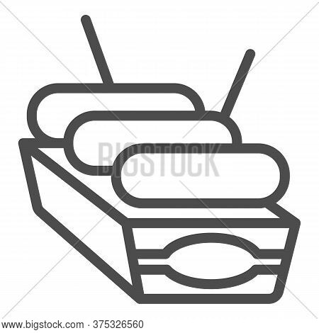 Sausages In Box Line Icon, Street Food Concept, Street Junk Food Container Sign On White Background,