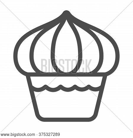 Cupcake Line Icon, Dessert Concept, Muffin Sign On White Background, Sweet Creamy Cupcake Icon In Ou