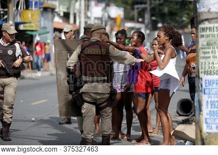 Salvador, Bahia / Brazil - August 1, 2017: People Protest In The Federation District Of Salvador Ove