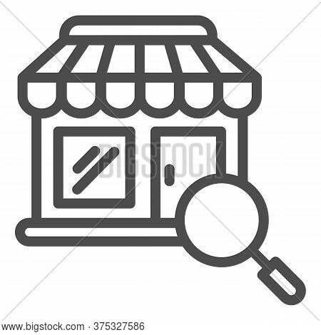 Shop Building And Magnifier Line Icon, Shopping Concept, Store With Magnifying Glass Sign On White B