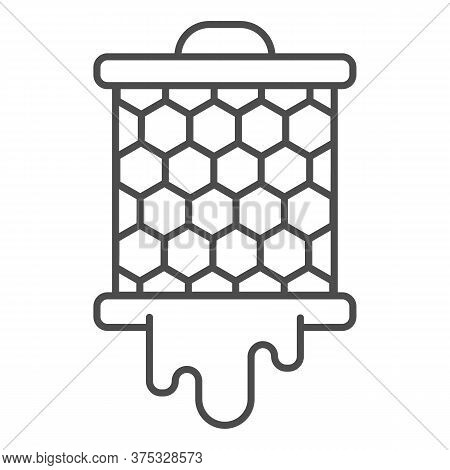 Grid With Honeycombs From Beehive Thin Line Icon, Beekeeping Concept, Bee Honey In Honeycomb Sign On