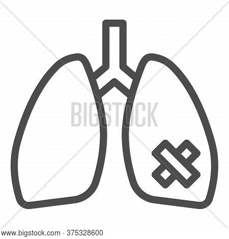 Diseased Lungs Organ Line Icon, Smoking Concept, Smoker Lung Sign On White Background, Human Lungs W