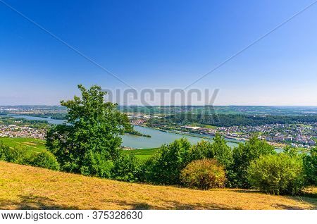 Aerial Panoramic View Of River Rhine Gorge Or Upper Middle Rhine Valley Winemaking Region With Viney