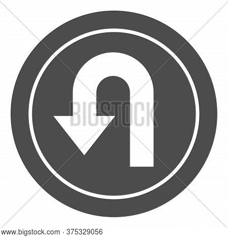 U-turn Traffic Sign Solid Icon, Navigation Concept Road Sign With Turn Symbol On White Background, U