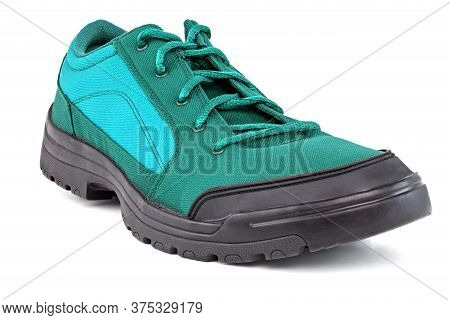 Right Cheap Aqua Mint Turquoise Green Hiking Or Hunting Shoe Isolated On White Background - Perspect