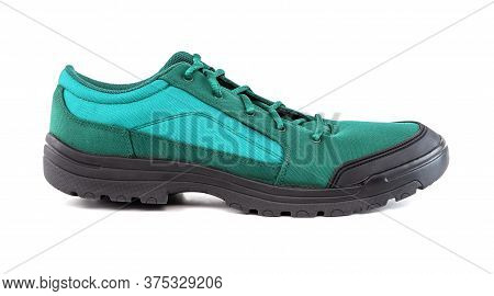 Right Cheap Aqua Mint Turquoise Green Hiking Or Hunting Shoe Isolated On White Background - Side Vie