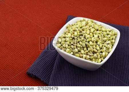 Mung Bean Sprouts In Bowl On Place Mat, Healthy Mung Beans