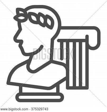 Greek Statue And Column Line Icon, Back To School Concept, Monument And Column Sign On White Backgro