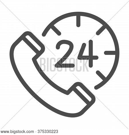 Handset And Clock Line Icon, Call Center Concept, All-day Customer Support Sign On White Background,