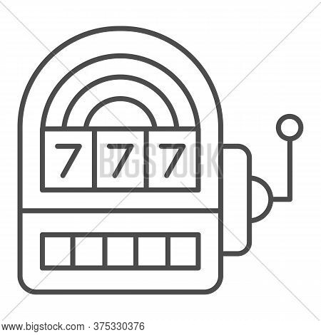 Slot Machine Thin Line Icon, Entertainment Concept, Casino Symbol On White Background, Lucky Seven O