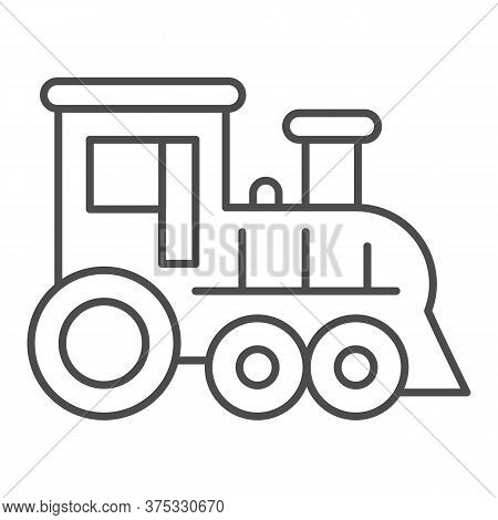 Locomotive Thin Line Icon, Amusement Park Concept, Train Sign On White Background, Locomotive Toy Ic