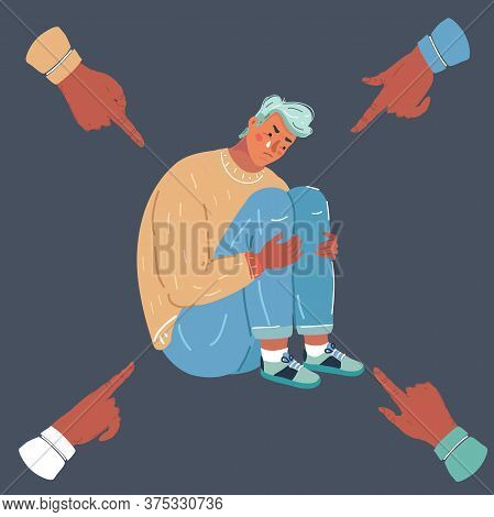 Vector Illustration Of Teenager Student With Fear At His School. Bullying Of Young Man On Dark Backg