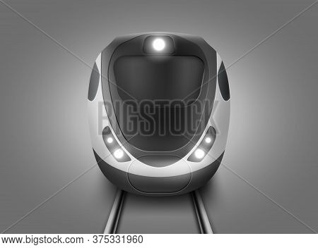 Modern Subway Train Front View. Vector Realistic Illustration Of Front Wagon Of Passenger Speed Trai