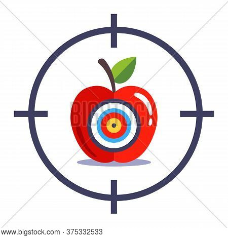Aim And Shoot The Bullseye. Hit Exactly On Target. Flat Vector Illustration Isolated On White Backgr