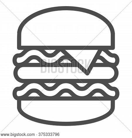 Big Burger Line Icon, Street Food Concept, King Burger Sign On White Background, Big And Tasty Hambu