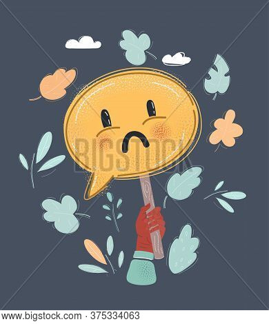 Vector Illustration Of Cartoon Drawn Sad Face On Speech Bubbles Banner. Expression Of Discontent, Sa
