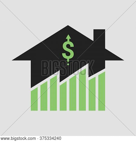 Symbol Of Growth In Real Estate Business And Properties Market Price Exuberant. Design By Financial